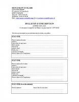Dossier d'inscription cantine scolaire de Coaraze